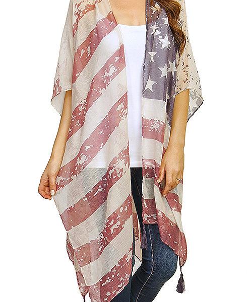 c2b7475c926 Vintage Sheer American Flag Kimono